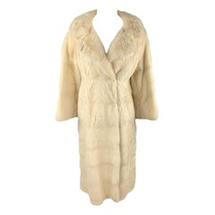 Vintage NEUSTETERS Size M Cream Mink Collared Hook Eye Closure Fur Coat