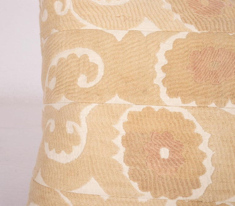 Uzbek Vintage Neutral Suzani Pillow Fashioned from a Mid-20th Century Samarkand Suzani For Sale