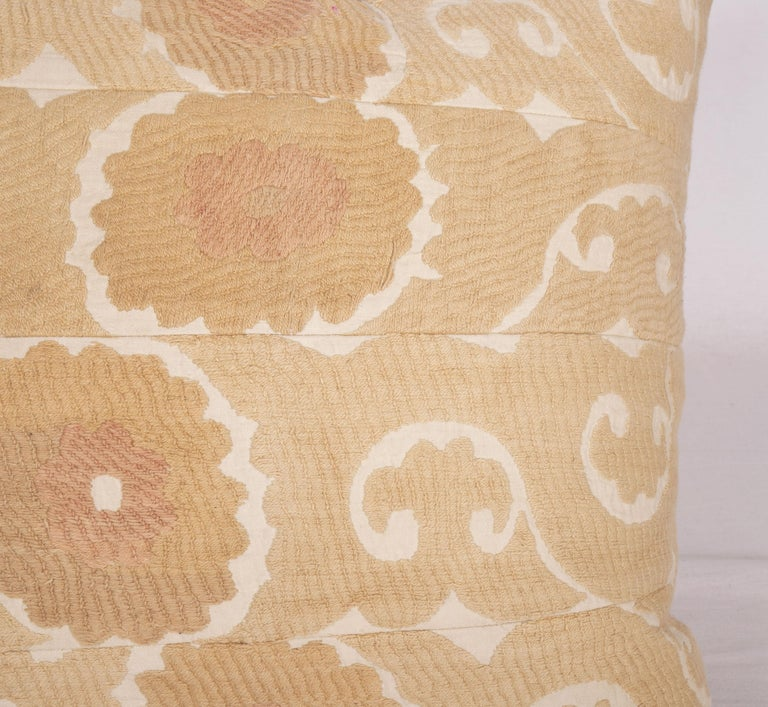 Embroidered Vintage Neutral Suzani Pillow Fashioned from a Mid-20th Century Samarkand Suzani For Sale