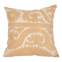Vintage Neutral Suzani Pillow Fashioned from a Mid-20th Century Samarkand Suzani