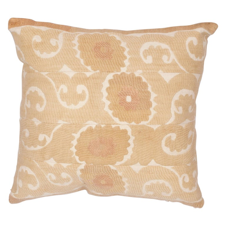 Vintage Neutral Suzani Pillow Fashioned from a Mid-20th Century Samarkand Suzani For Sale