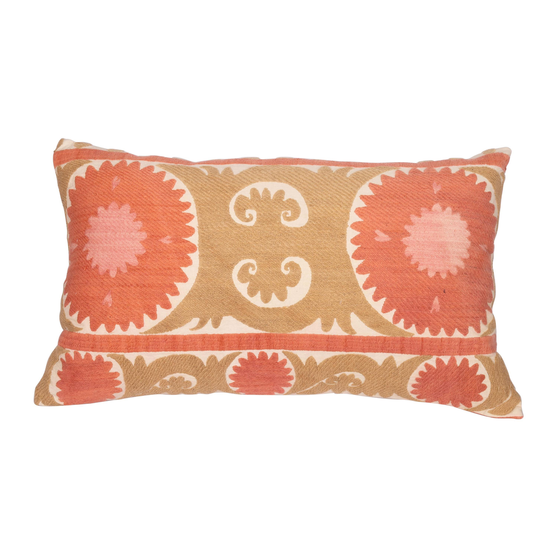 Vintage Neutral Suzani Pillow Fashioned from a Mid-20th Century Samarkand Suzani