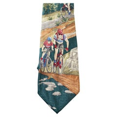 Vintage New Classic silk tie with cyclists
