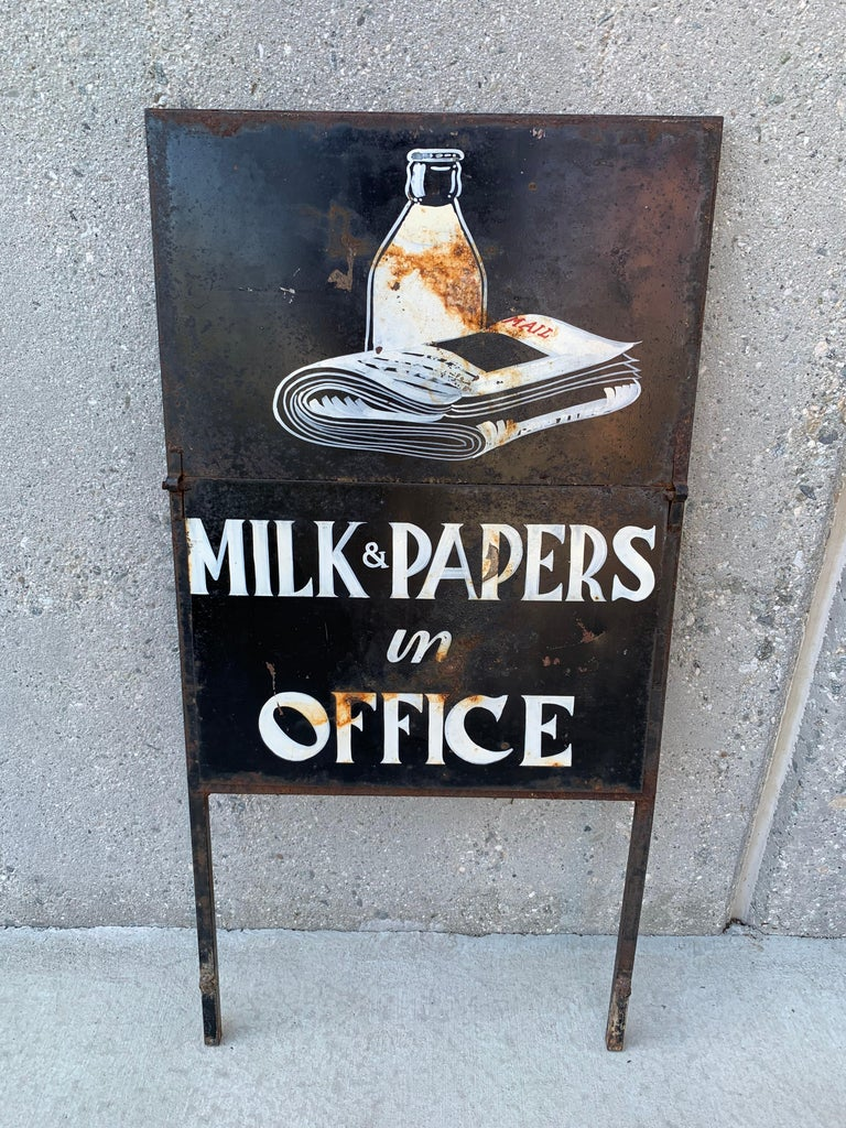 Double sided sign with unique flip up sign. Two signs in one. Excellent hand painting and lettering.