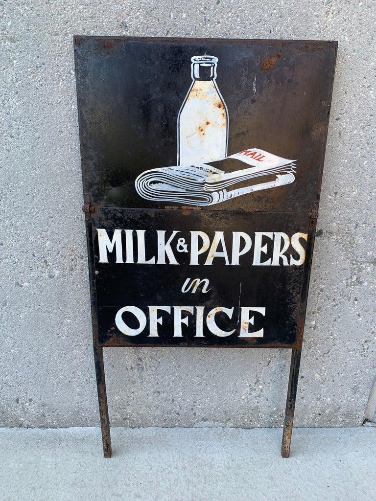 Folk Art Vintage Newspaper and Milk Trade Sign