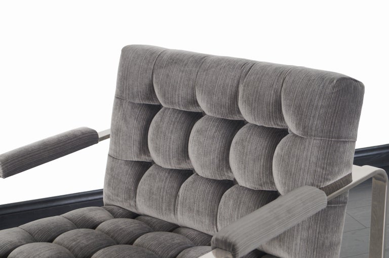 Vintage Nickel Biscuit Tufted Lounge Chairs by Milo Baughman For Sale 3