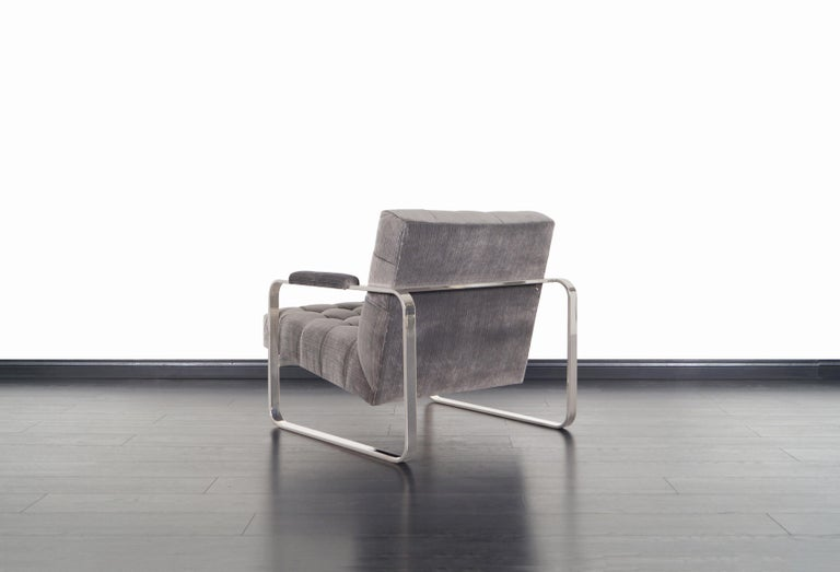 Vintage Nickel Biscuit Tufted Lounge Chairs by Milo Baughman For Sale 4