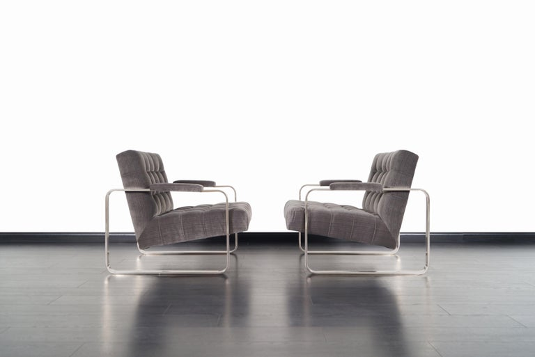 Mid-Century Modern Vintage Nickel Biscuit Tufted Lounge Chairs by Milo Baughman For Sale
