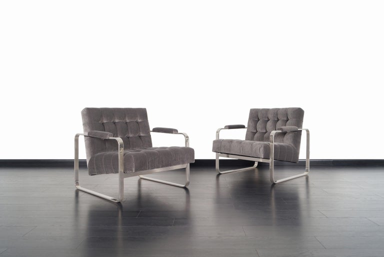 American Vintage Nickel Biscuit Tufted Lounge Chairs by Milo Baughman For Sale