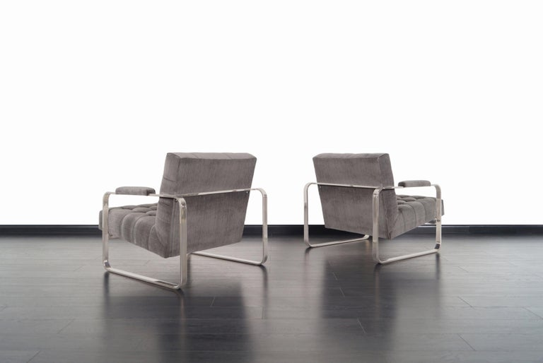 Late 20th Century Vintage Nickel Biscuit Tufted Lounge Chairs by Milo Baughman For Sale