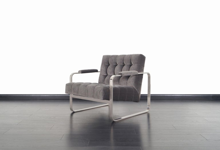 Velvet Vintage Nickel Biscuit Tufted Lounge Chairs by Milo Baughman For Sale