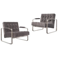 Vintage Nickel Biscuit Tufted Lounge Chairs by Milo Baughman