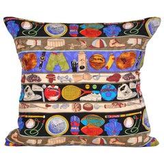 Vintage Nicole Miller Silk Fabric Sports Pillow with Irish Linen Cushion Blue