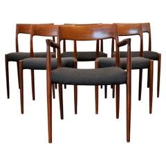 Vintage Niels O. Møller Teak Dining Chairs, Model 77 and Model 57, Set of 6