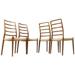 Vintage Niels O. Moller Set of 4 Dining Chair in Teak, Model 82, 1954