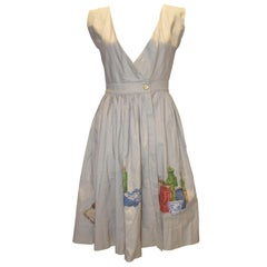 Vintage Nieman Marcus Linen Dess with Fruit and  Vegtable Detail