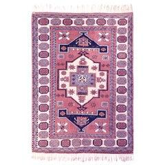 Vintage Nigde Turkish Pink and Blue Rug
