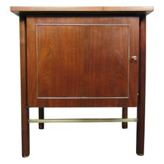Vintage Night Stand in Walnut and Brass
