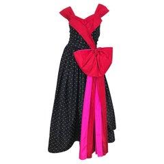 Vintage Nina Ricci Couture 1980s Avant Garde Polka Dot Silk Taffeta Evening Gown