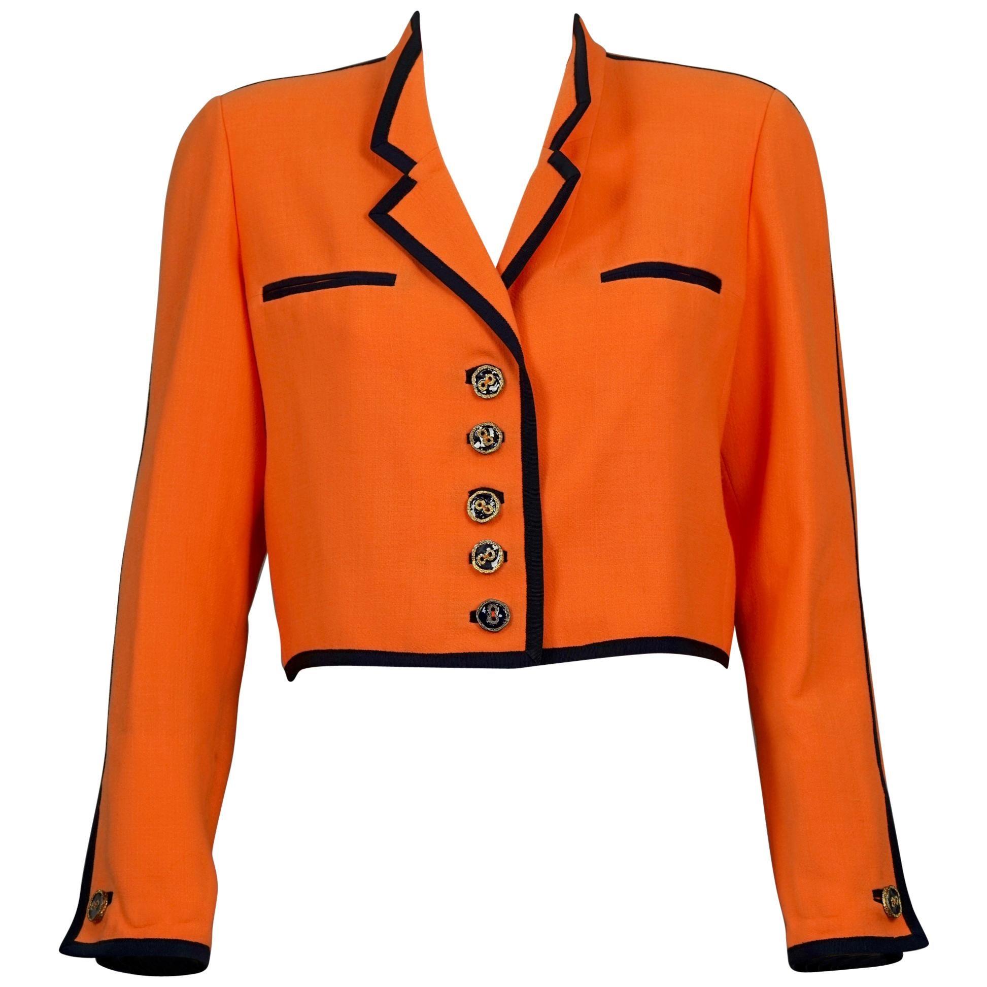 Vintage NINA RICCI Edition Boutique Orange Crop Jacket