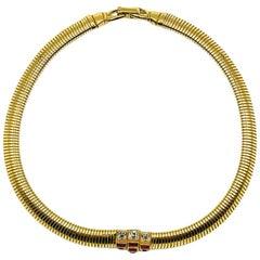 Vintage Nina Ricci Gold & Ruby Crystal Omega Collar 1980s