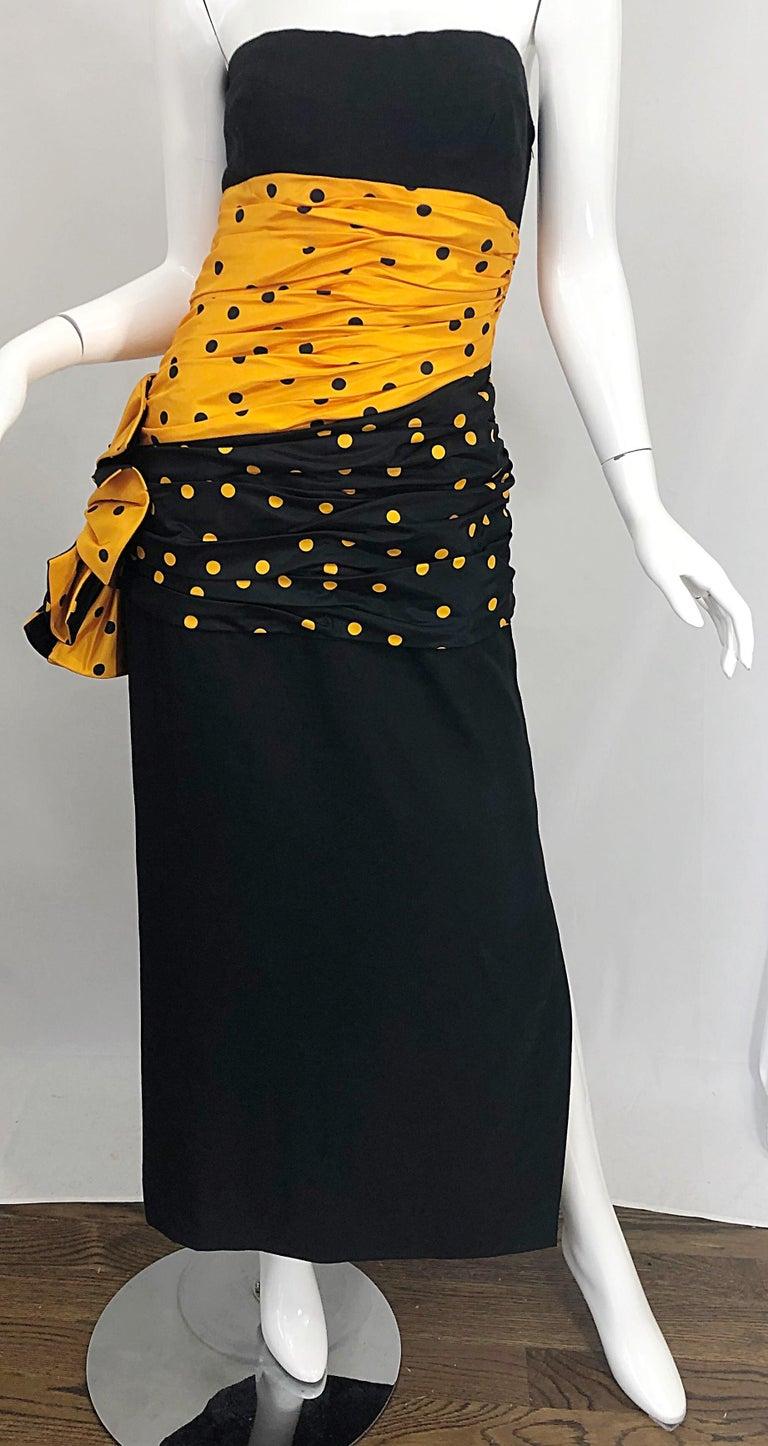 Vintage Nina Ricci Haute Couture 1980s Avant Garde Linen + Silk Strapless Gown For Sale 6