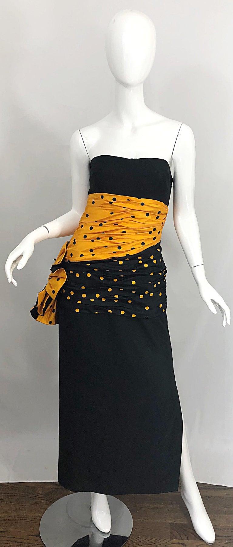 Vintage Nina Ricci Haute Couture 1980s Avant Garde Linen + Silk Strapless Gown For Sale 8