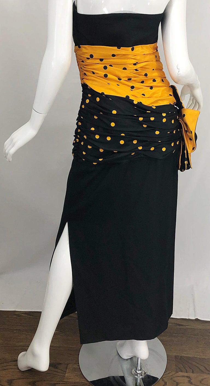 Vintage Nina Ricci Haute Couture 1980s Avant Garde Linen + Silk Strapless Gown For Sale 11