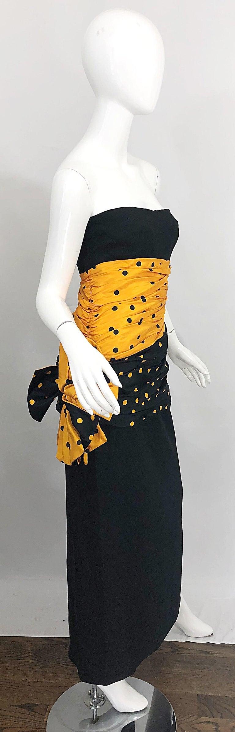 Vintage Nina Ricci Haute Couture 1980s Avant Garde Linen + Silk Strapless Gown For Sale 12