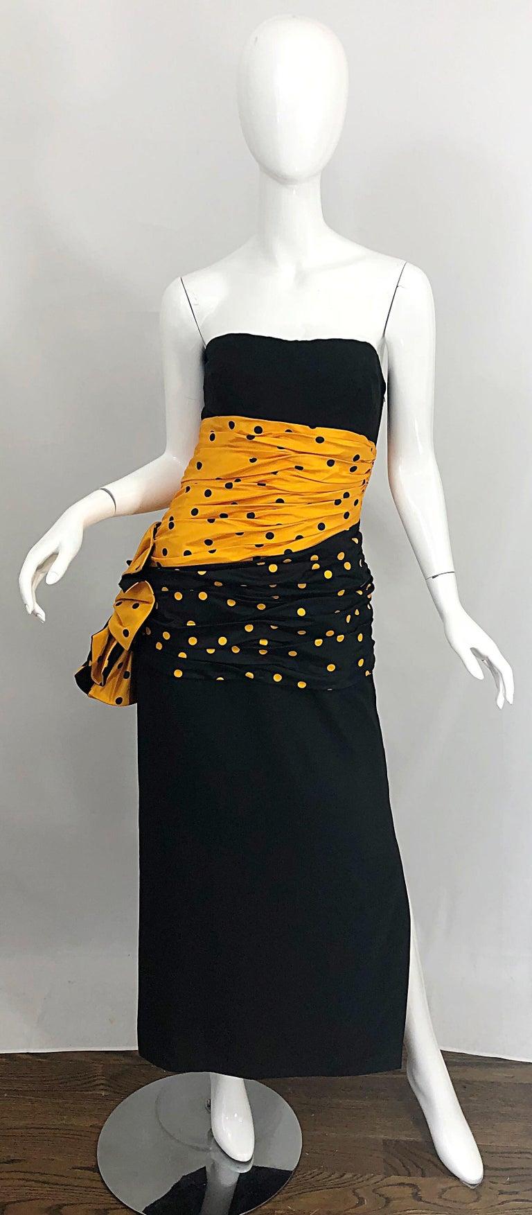 Black Vintage Nina Ricci Haute Couture 1980s Avant Garde Linen + Silk Strapless Gown For Sale