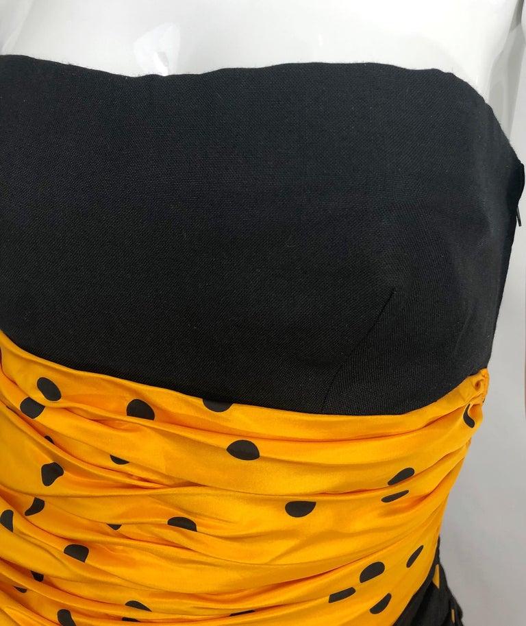Vintage Nina Ricci Haute Couture 1980s Avant Garde Linen + Silk Strapless Gown For Sale 4