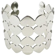 Vintage Nina Ricci Parfums Silver Heart Statement Open Cuff 1990S