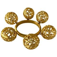 Vintage Nina Ricci, Paris Gold Ball Statement Bracelet