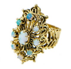 Vintage Nine Opal Ornate Ring