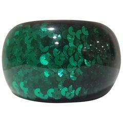 Vintage NK Green sequins bangle bracelet