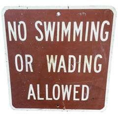 Vintage No Swimming Metal Sign