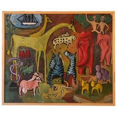 Vintage Noah's Ark Modernist Oil Painting