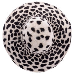Vintage Nordstrom Rabbit Fur Cheetah Print Wide Brim Hat