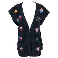 Vintage Norma Kamali 1980s Avant Garde Doll Appliqués Black Wool Sweater Vest
