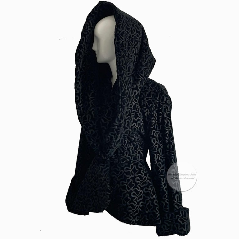 Vintage 80s Norma Kamali Shawl Collar Jacket. Over-the-top & super rare! Made from burnout black velvet with abstract squiggle pattern/lined/dry clean only. This jacket is substantial & features an oversized shawl collar that can be worn several