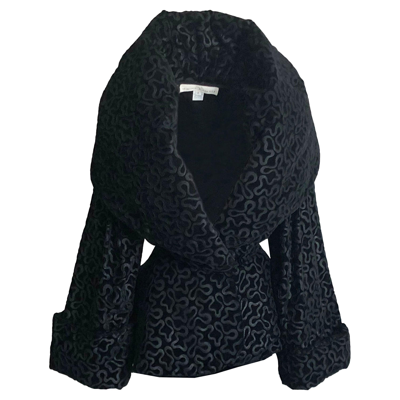 Vintage Norma Kamali Jacket Oversized Shawl Collar Rare Black Velvet Size 6
