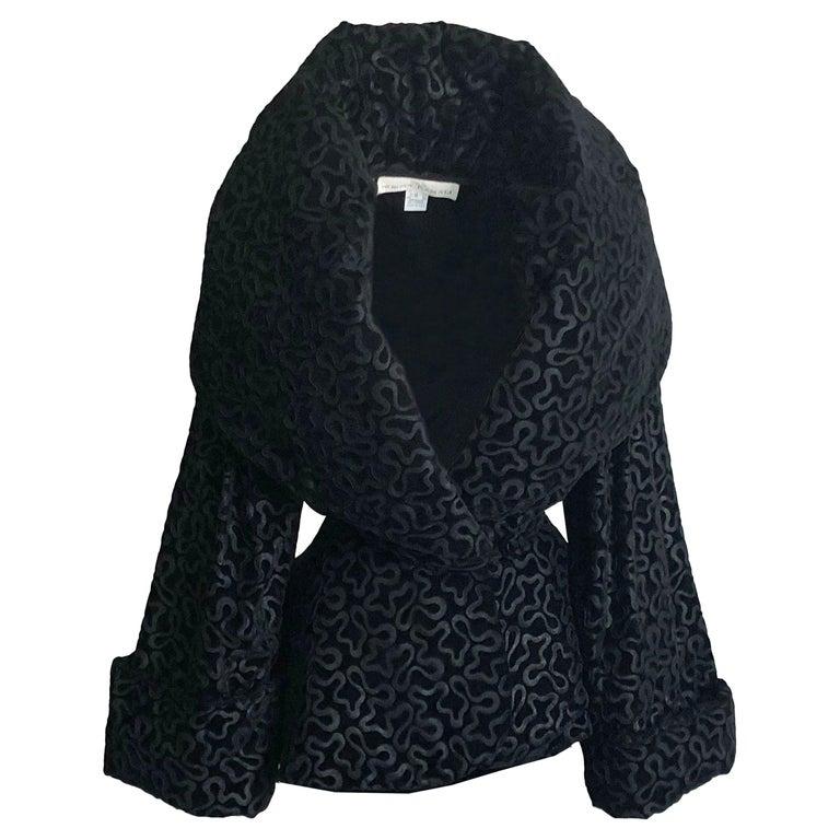 Vintage Norma Kamali Jacket Oversized Shawl Collar Rare Black Velvet Size 6  For Sale