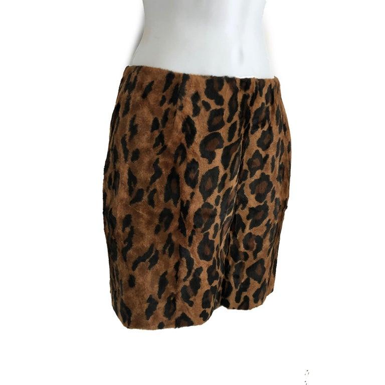 Brown Vintage Norma Kamali Mini Skirt Faux Fur Tiger Print Sz XS  For Sale