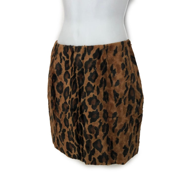 Vintage Norma Kamali Mini Skirt Faux Fur Tiger Print Sz XS  In Good Condition For Sale In Port Saint Lucie, FL