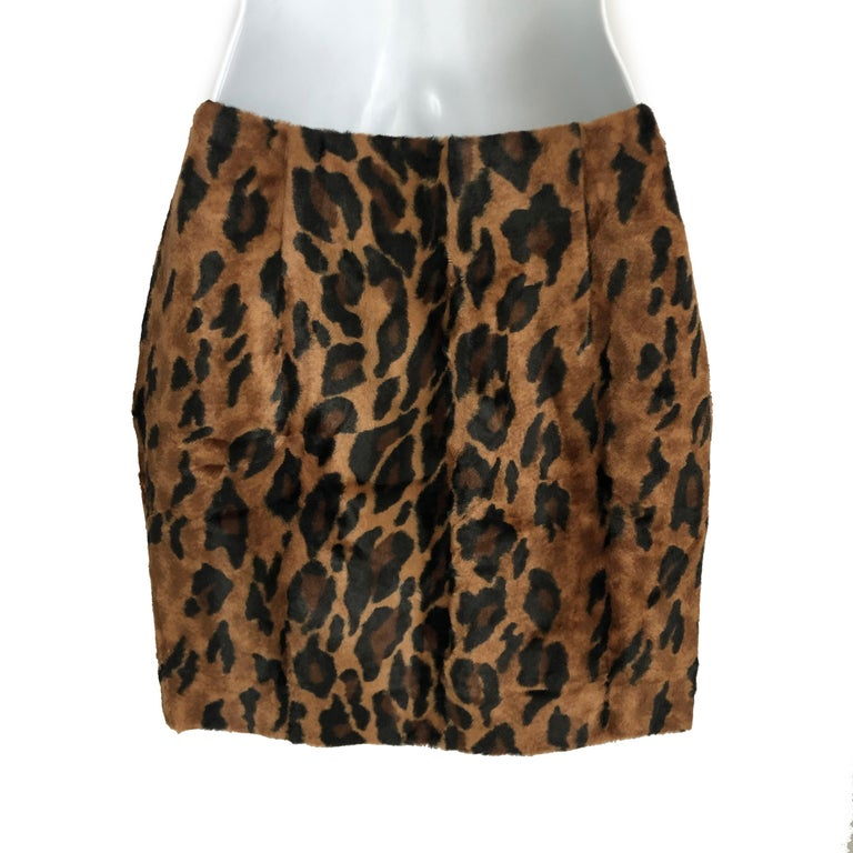 Women's or Men's Vintage Norma Kamali Mini Skirt Faux Fur Tiger Print Sz XS  For Sale