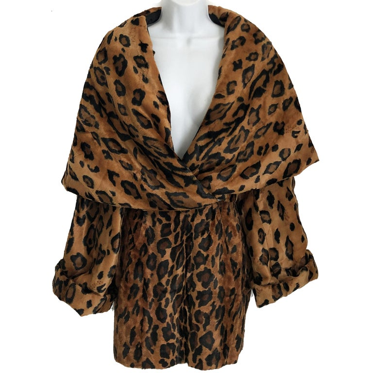 Vintage Norma Kamali Mini Skirt Faux Fur Tiger Print Sz XS  For Sale 3