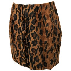Vintage Norma Kamali Mini Skirt Faux Fur Tiger Print Sz XS