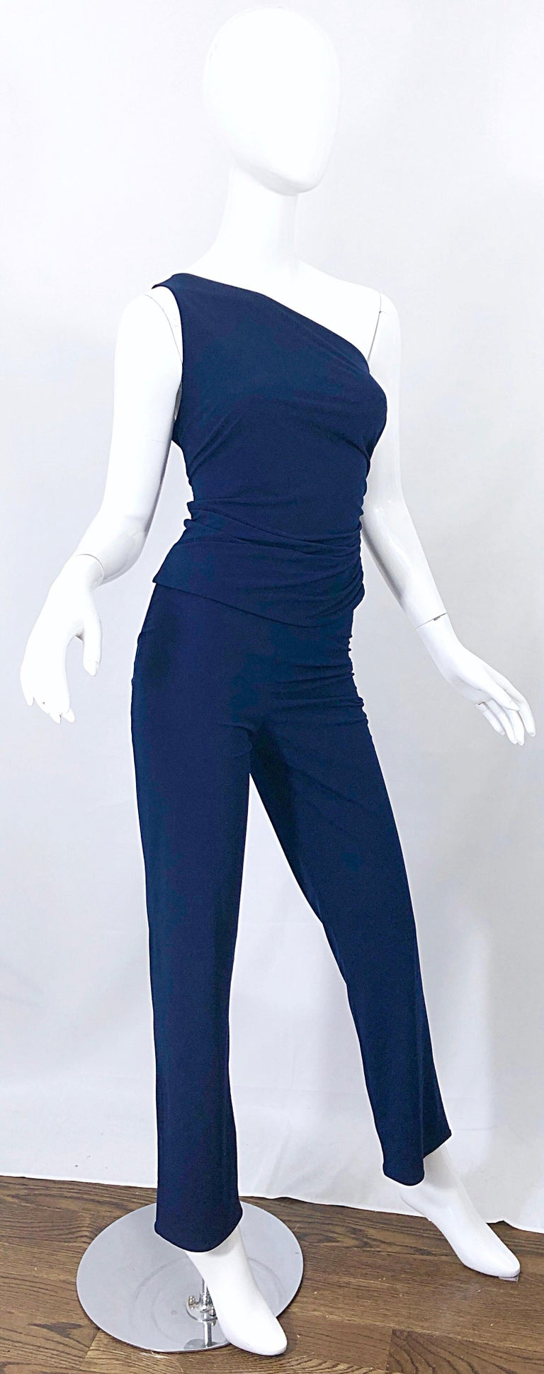 Vintage Norma Kamali OMO 1980s Navy Blue One Shoulder 80s Top and Pants Jumpsuit For Sale 6