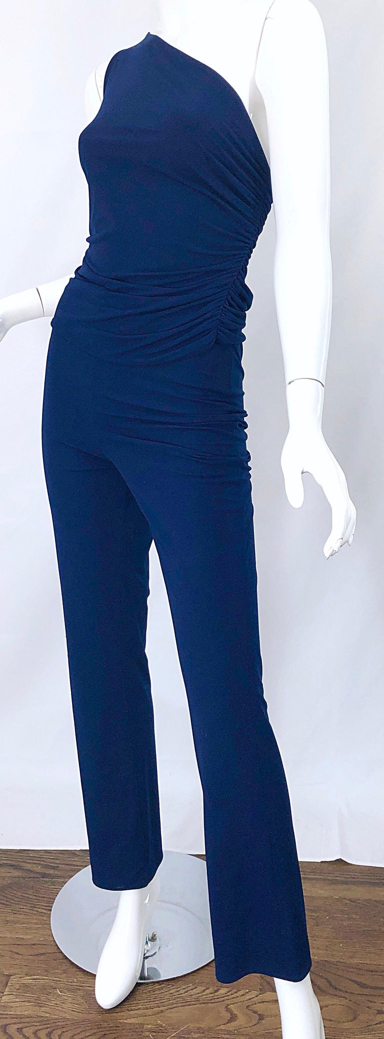 Vintage Norma Kamali OMO 1980s Navy Blue One Shoulder 80s Top and Pants Jumpsuit For Sale 7