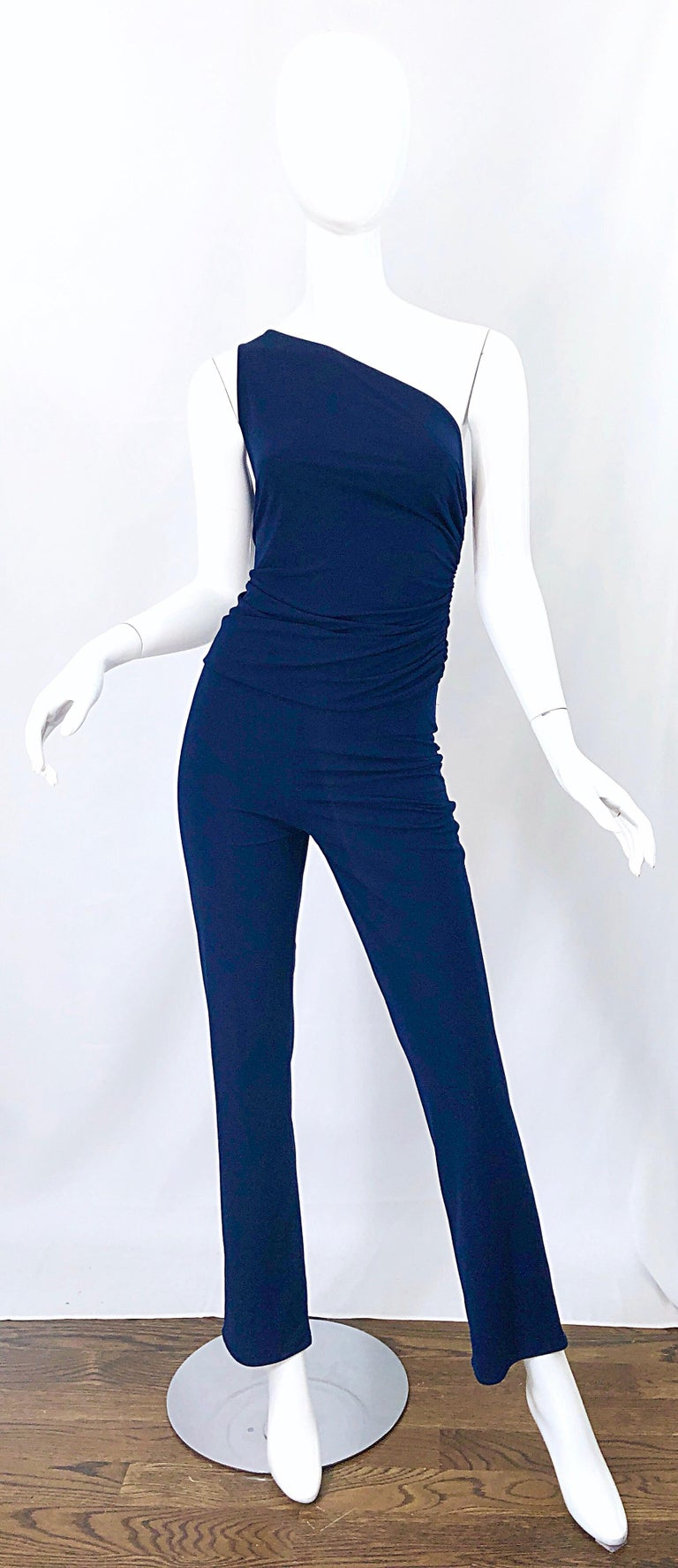Amazing vintage NORMA KAMALI OMO early 1980s navy blue one shoulder top and trosuers! Looks like a jumpsuit, but better! Soft stretch jersey stretches to fit, and the ruched details on the top is super flattering. Top simply slips over the head.
